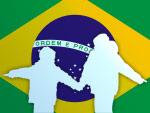 Brasilienflagge und Kinder