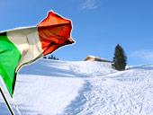 Nassfeld mit italienischer Flagge